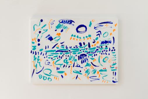 """uOu, 2015, acrylic on birch panel, 24"""" x 34"""""""