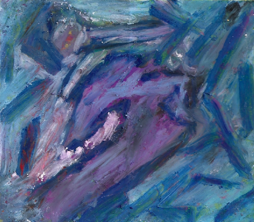 "Surfer Girl, 2010, acrylic and pastel on paper, 8"" x 8"""